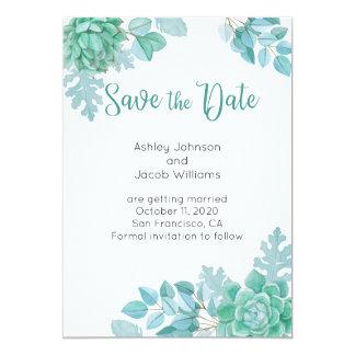 Succulent Save the Date. Tadellose Karte