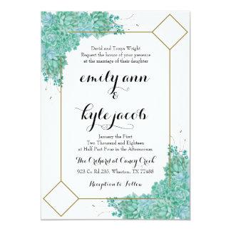 Succulent und Gold, die Invitiation Wedding sind Karte