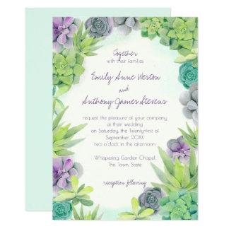 Succulents, die Aquarell Wedding sind Karte