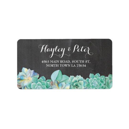 Succulents-elegante Kreide-Sahneadressen-Etiketten Adressaufkleber