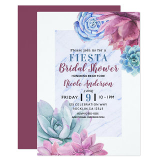 Succulentsmoderne Chic-Marmor-Brautparty-Fiesta Karte