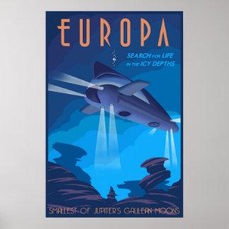 Suche nach dem Leben auf Jupiters Mond Europa Poster