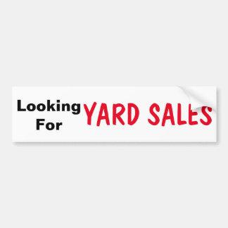 Suchen des Yard-Verkaufs-Autoaufklebers Autoaufkleber