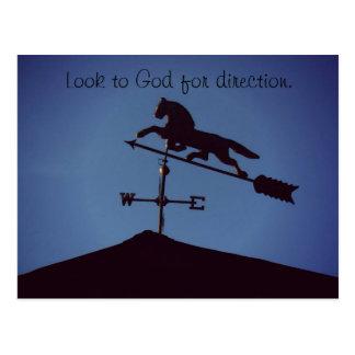 Suchen Sie zum Gott nach Richtung Postkarte