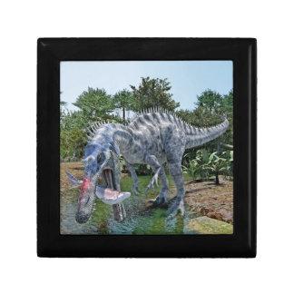 Suchomimus Dinosaurier, der einen Haifisch in Geschenkbox