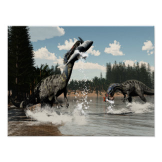 Suchomimus Dinosaurier, die Fische und Haifisch Poster