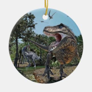 Suchomimus und Tyrannosaurus Rex Konfrontation Keramik Ornament