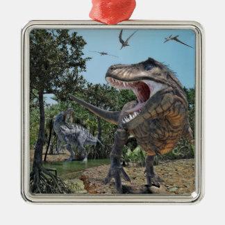 Suchomimus und Tyrannosaurus Rex Konfrontation Silbernes Ornament