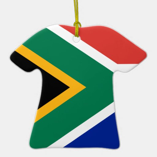 Südafrika-Flagge auf Keramik-T-Shirt Anhänger Ornamente