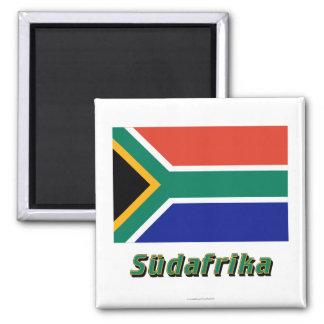 Südafrika Flagge MIT Namen Quadratischer Magnet