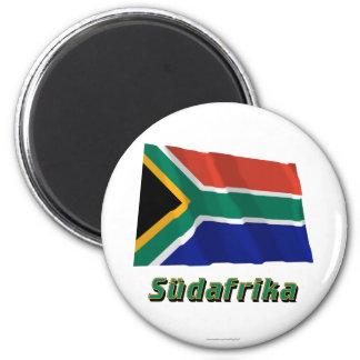 Südafrika Fliegende Flagge MIT Namen Runder Magnet 5,1 Cm