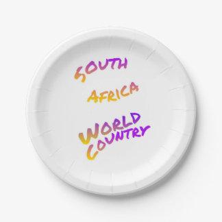 Südafrika-Weltland, bunte Textkunst Pappteller