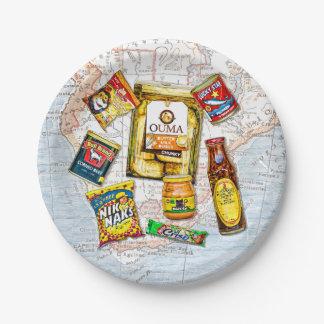 Südafrikanische ikonenhafte Nahrungsmittelmarken Pappteller