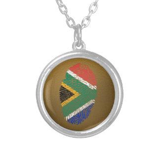 Südafrikanische Touchfingerabdruckflagge Halskette Mit Rundem Anhänger