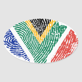 Südafrikanische Touchfingerabdruckflagge Ovaler Aufkleber