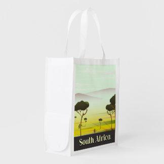 Südafrikanisches LandschaftsAbends-Reiseplakat Wiederverwendbare Einkaufstasche