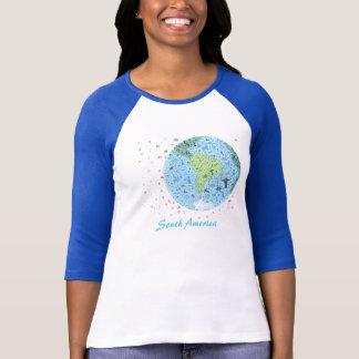 Südamerika, Ansicht der Welt. Colourfull Ikonen T-Shirt