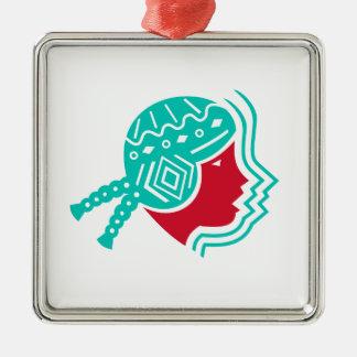 Südamerikanische Mädchen-Ikone Quadratisches Silberfarbenes Ornament