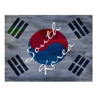 Südbeunruhigte Flagge koreas Postkarte