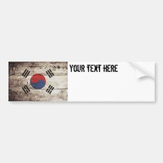 Südkorea-Flagge auf altem hölzernem Korn Autoaufkleber