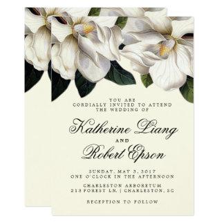 Südliche Magnolien-botanische Hochzeits-Einladung Karte