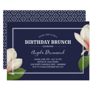 Südliche Magnolien-Geburtstags-Brunch-Blau Karte