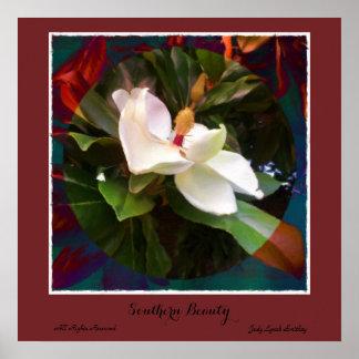 """""""Südliche Schönheits-"""" Magnolien-Plakat Poster"""