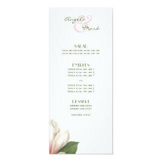 Südliches rosa Weiß des Magnolien-Blumen-Menü-  Karte