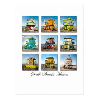 Südstrand, Miami-Leben-Schutz-Bretterbuden Postkarte