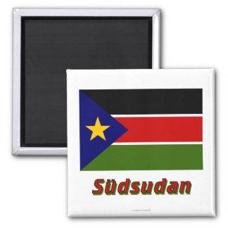 Südsudan Flagge MIT Namen Quadratischer Magnet