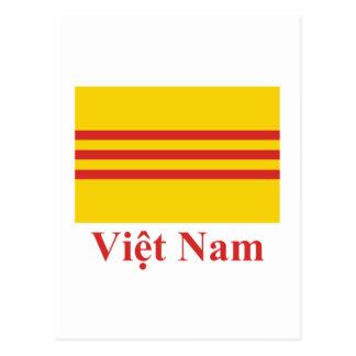 Südvietnam-Flagge mit Namen auf Vietnamesen Postkarte