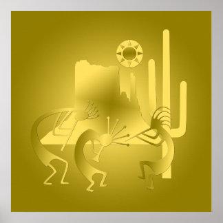 Südwesten Kokopelli im Gold Poster