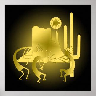 Südwesten Kokopelli im Schwarzen u. im Gold Poster