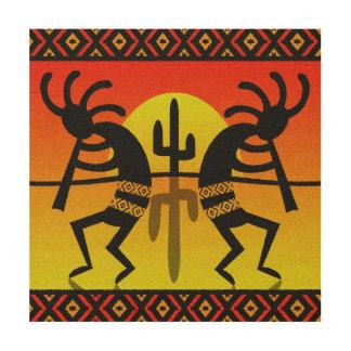 SüdwestenKokopelli Kaktus-Stammes- Entwurf Holzdruck
