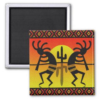 SüdwestenKokopelli Kaktus-Stammes- Entwurf Quadratischer Magnet