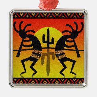 SüdwestenKokopelli Kaktus-Stammes- Entwurf Silbernes Ornament