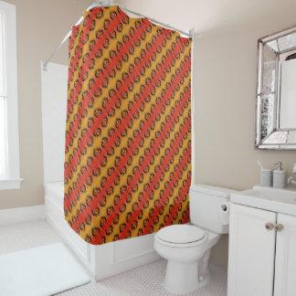 SüdwestenKokopelli Muster orange und schwarz Duschvorhang