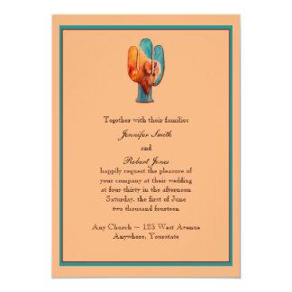 Südwestkaktus-und -büffel-Hochzeits-Einladung Karte