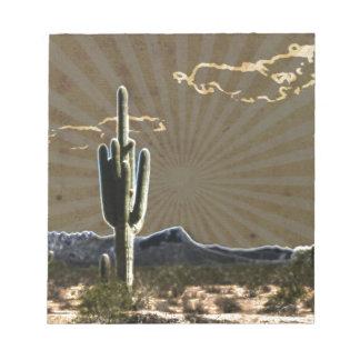 südwestliche Kunst Wüstesaftiger Saguaro-Kaktus Notizblock
