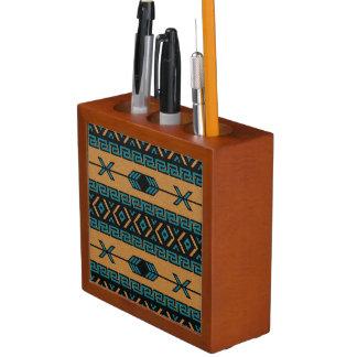 Südweststammes- aztekisches Türkis-und -tAN-Muster Stifthalter