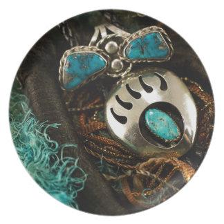 Südwesttürkis-Ringbolo-Krawatten-blaues Grün Teller