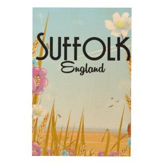 Suffolk-England-Hof-Cartoon-Reiseplakat Holzwanddeko