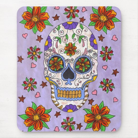Sugar Skull with Marigolds Mousepad