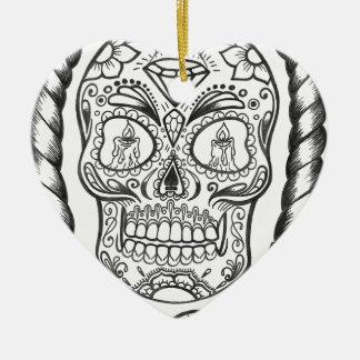 Sugarskull Tätowierungs-Kunst durch Sweetpieart Keramik Herz-Ornament