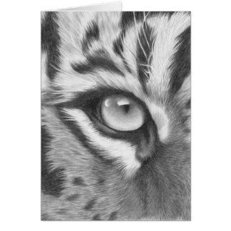 Sumatra Tiger Auge - Bleistiftzeichnung Grußkarte