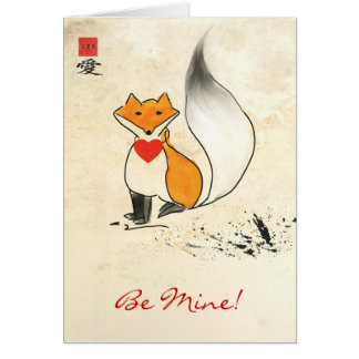 Sumi-e Fox-Valentinsgruß-Gruß-Karte