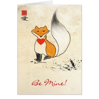 Sumi-e Fox-Valentinsgruß-Gruß-Karte Grußkarte
