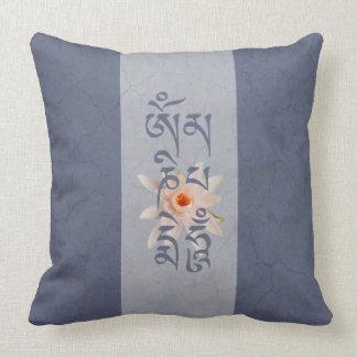 Summen Lotus - Blau OM Mani Padme Kissen