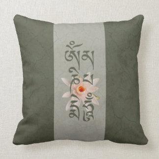 Summen Lotus OM Mani Padme - blaugrün Kissen
