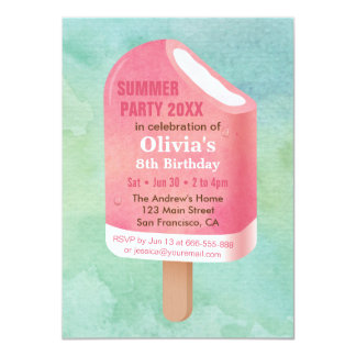 Summer Lolly Popsicle Ice Cream Birthday Party 11,4 X 15,9 Cm Einladungskarte